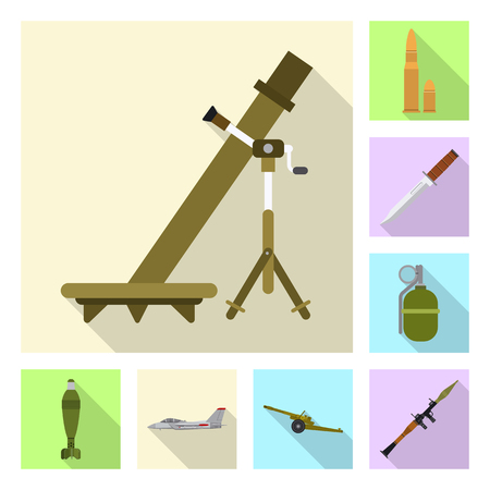 Isolated object of weapon and gun sign. Set of weapon and army stock symbol for web. Stock Vector - 111219802