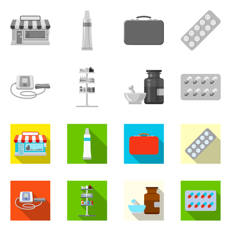 Isolated object of pharmacy and hospital icon. Collection of pharmacy and business vector icon for stock.
