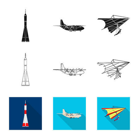 Vector design of plane and transport logo. Set of plane and sky vector icon for stock.