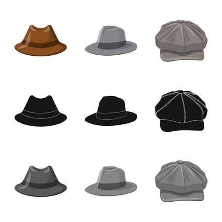 Vector illustration of headgear and cap logo. Set of headgear and accessory vector icon for stock.