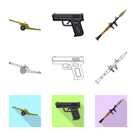 Vector design of weapon and gun sign. Collection of weapon and army vector icon for stock.