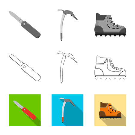 Vector design of mountaineering and peak sign. Collection of mountaineering and camp stock symbol for web. Illustration