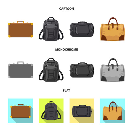 Vector design of suitcase and baggage icon. Collection of suitcase and journey vector icon for stock.