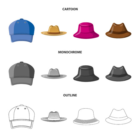 Isolated object of headgear and cap symbol. Collection of headgear and accessory vector icon for stock. Illustration