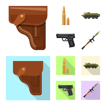 Vector illustration of weapon and gun icon. Set of weapon and army stock vector illustration. Illustration