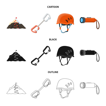 Vector illustration of mountaineering and peak icon. Collection of mountaineering and camp stock symbol for web.
