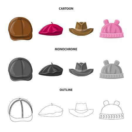 Vector design of headgear and cap logo. Collection of headgear and accessory stock symbol for web.