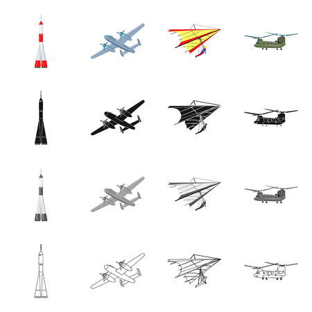 Isolated object of plane and transport sign. Collection of plane and sky vector icon for stock.