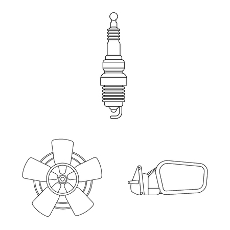 Vector illustration of auto and part icon. Collection of auto and car vector icon for stock. Ilustração