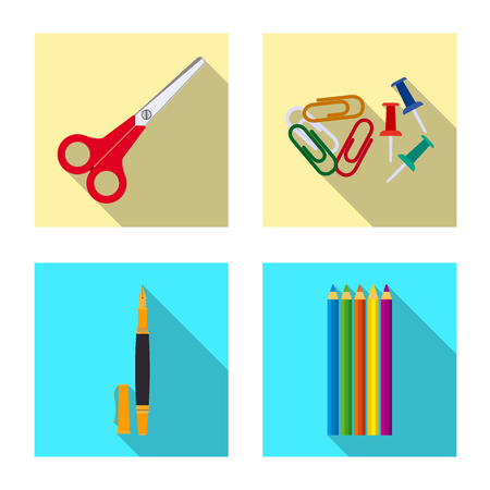 Vector design of office and supply logo. Set of office and school stock vector illustration.