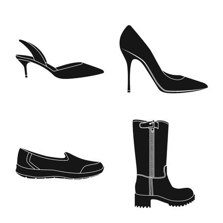 Illustration vectorielle du symbole de la chaussure et de la femme. Ensemble de chaussures et de pied symbole boursier pour le web. Vecteurs