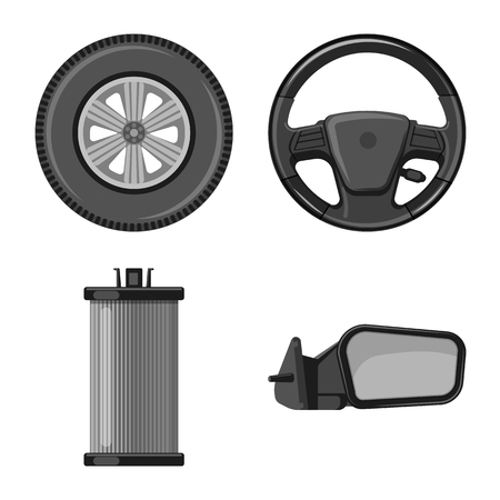 Vector design of auto and part logo. Collection of auto and car stock vector illustration. 向量圖像