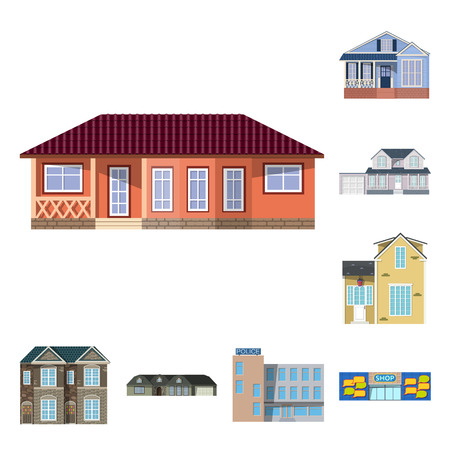 Vector design of building and front icon. Collection of building and roof vector icon for stock.