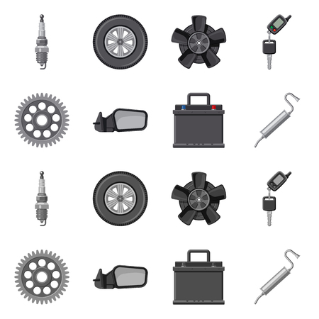 Vector design of auto and part icon. Collection of auto and car vector icon for stock. Standard-Bild - 111224894
