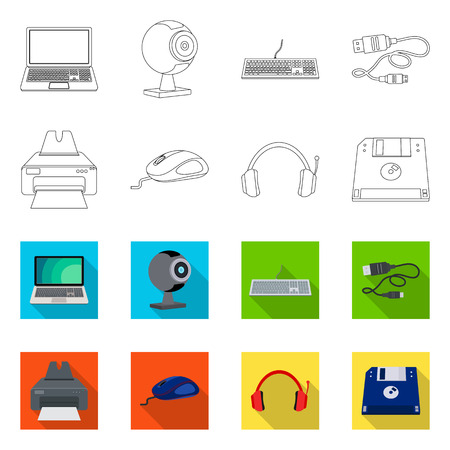 Vector design of laptop and device sign. Collection of laptop and server vector icon for stock.