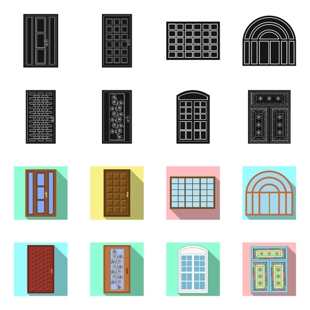 Vector design of door and front sign. Collection of door and wooden vector icon for stock.