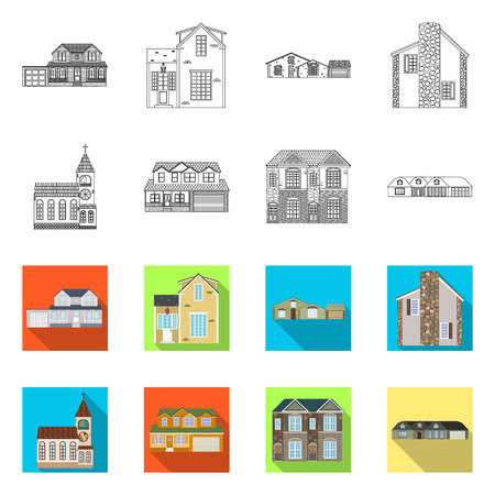 Vector design of building and front symbol. Set of building and roof stock symbol for web.