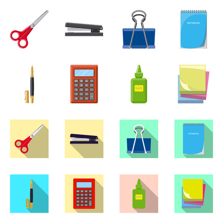 Vector illustration of office and supply sign. Set of office and school stock vector illustration.