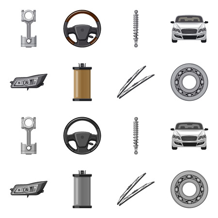 Vector illustration of auto and part icon. Collection of auto and car stock vector illustration. Illustration