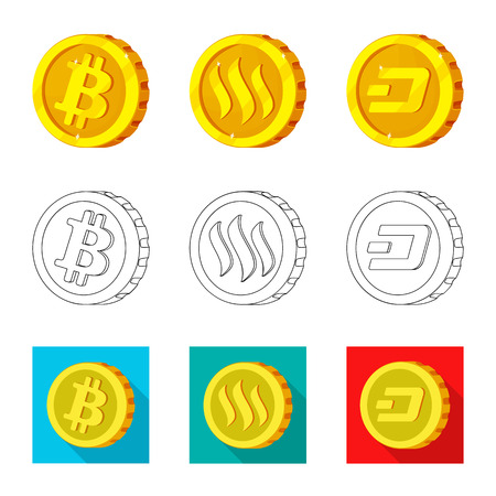 Isolated object of cryptocurrency and coin icon. Collection of cryptocurrency and crypto stock vector illustration.