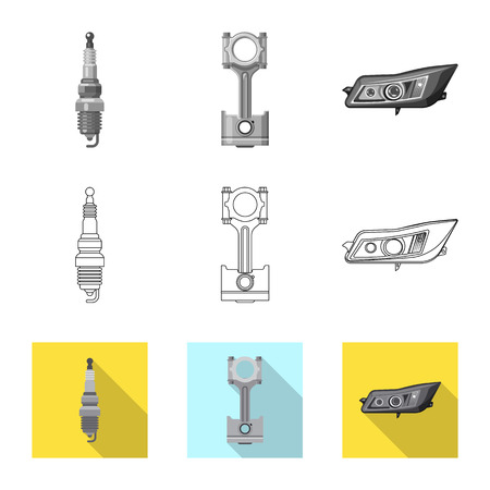 Vector design of auto and part symbol. Collection of auto and car vector icon for stock. Illustration