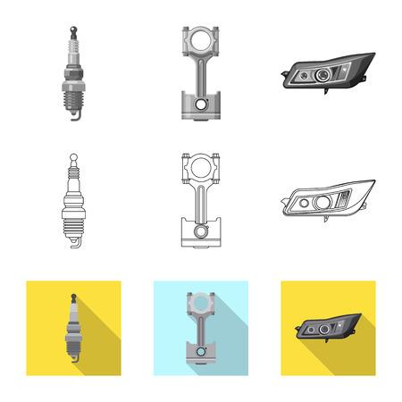 Vektordesign des Auto- und Teilsymbols. Sammlung von Auto- und Autovektorsymbolen für Aktien. Vektorgrafik