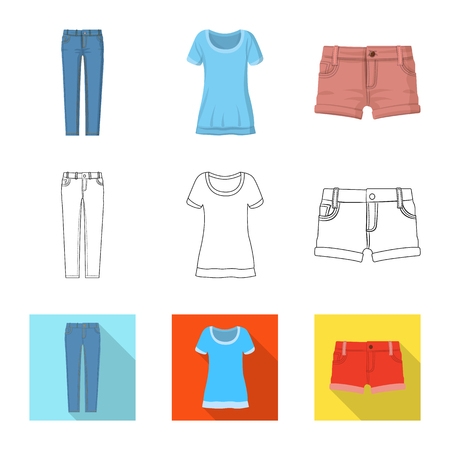 Vector illustration of woman and clothing logo. Collection of woman and wear stock symbol for web.
