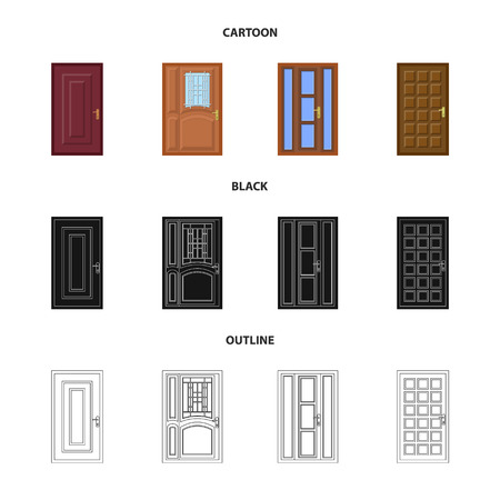 Vector design of door and front sign. Set of door and wooden stock symbol for web. Illustration