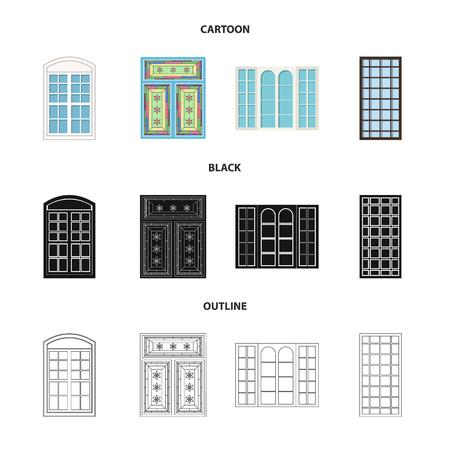 Vector design of door and front icon. Collection of door and wooden stock vector illustration. Vector Illustratie