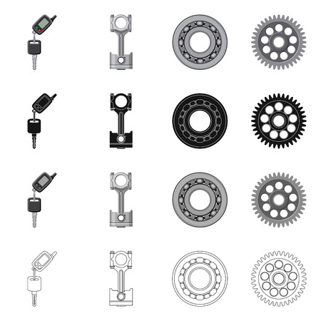 Vector illustration of auto and part icon. Set of auto and car stock vector illustration. Illustration