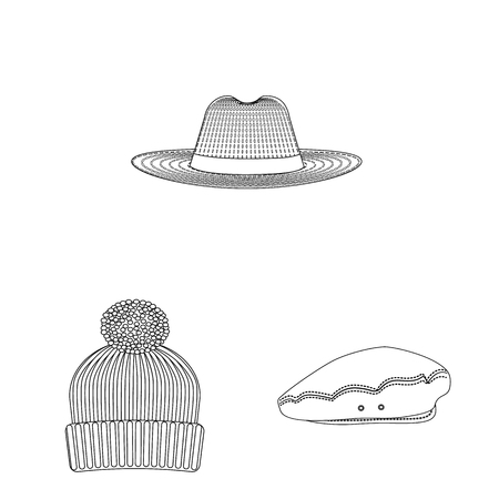 bitmap illustration of headgear and cap icon. Collection of headgear and accessory bitmap icon for stock. Stock Photo