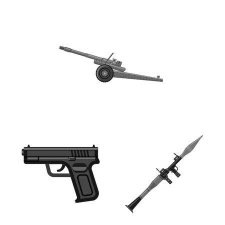 Isolated object of weapon and gun sign. Set of weapon and army stock symbol for web.