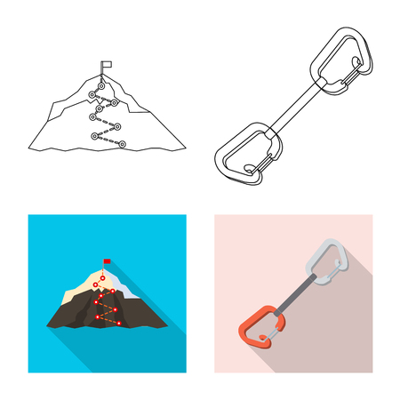 Isolated object of mountaineering and peak sign. Collection of mountaineering and camp bitmap icon for stock.