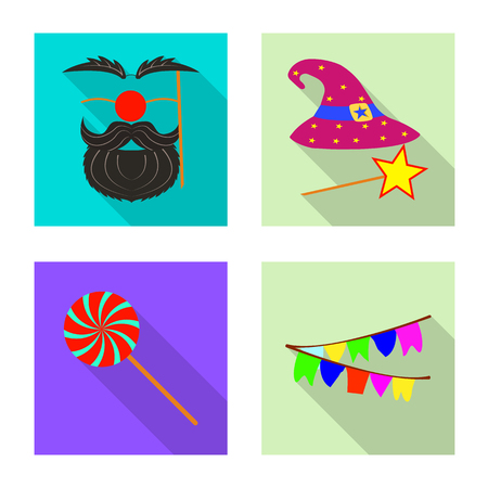bitmap design of party and birthday symbol. Set of party and celebration stock symbol for web.
