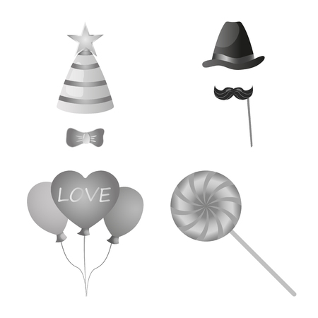 Isolated object of party and birthday sign. Set of party and celebration stock bitmap illustration.