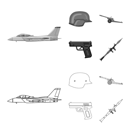 Isolated object of weapon and gun logo. Set of weapon and army stock bitmap illustration.