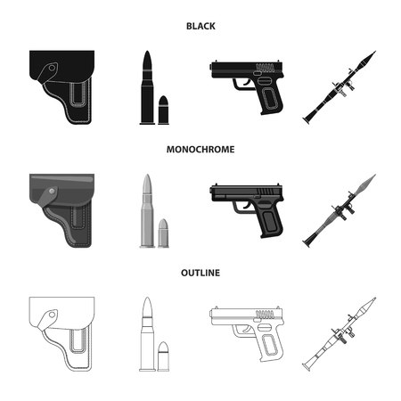 Isolated object of weapon and gun sign. Set of weapon and army bitmap icon for stock. Stock Photo