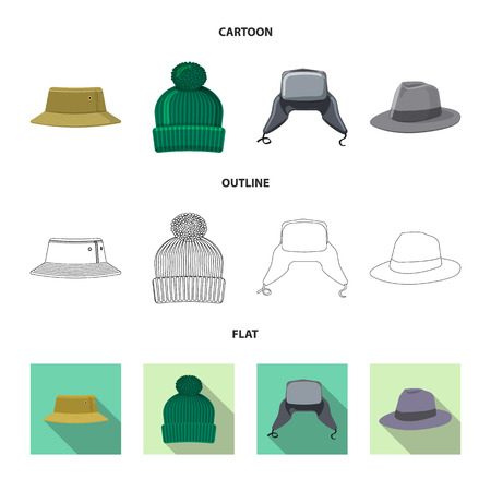 bitmap design of headgear and cap symbol. Collection of headgear and accessory stock bitmap illustration.