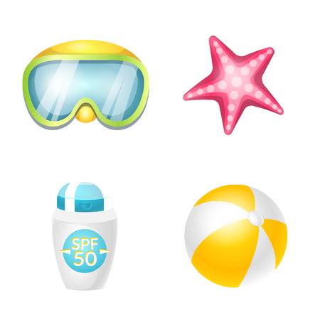 Isolated object of equipment and swimming symbol. Set of equipment and activity stock vector illustration.