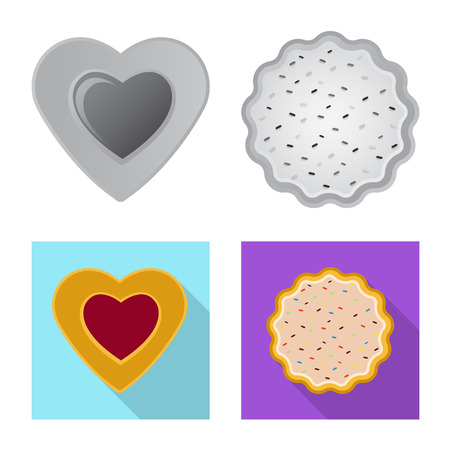 Vector illustration of biscuit and bake icon. Set of biscuit and chocolate stock vector illustration. Иллюстрация