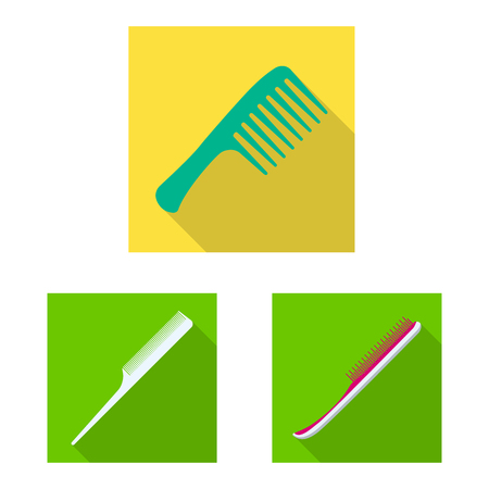 Vector design of brush and hair sign. Set of brush and hairbrush vector icon for stock. Illustration