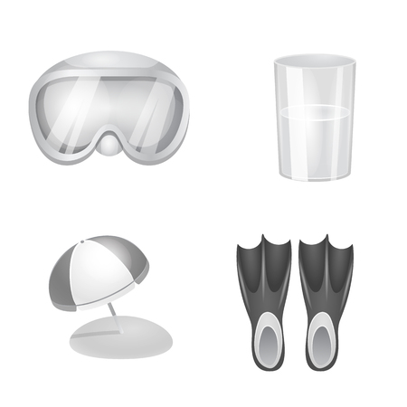 Isolated object of equipment and swimming sign. Collection of equipment and activity stock symbol for web. Vecteurs