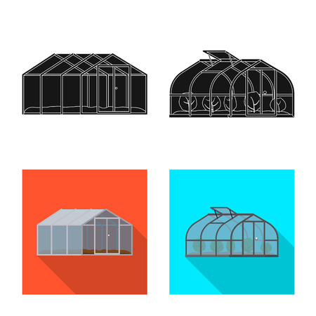 Isolated object of greenhouse and plant icon. Collection of greenhouse and garden stock vector illustration.