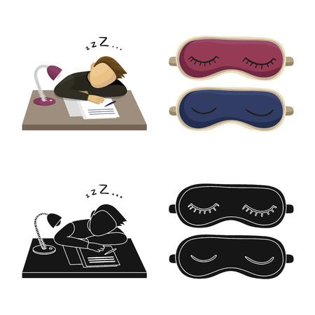Vektorillustration von Träumen und Nachtikone. Sammlung von Träumen und Schlafzimmer Lager Vektor-Illustration.