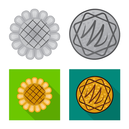 Isolated object of biscuit and bake logo. Set of biscuit and chocolate vector icon for stock.
