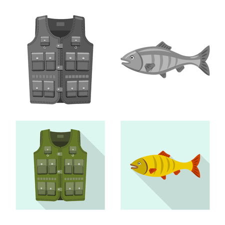 Vector design of fish and fishing logo. Collection of fish and equipment stock vector illustration.