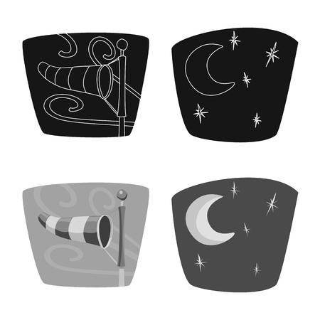 Vector design of weather and climate symbol. Collection of weather and cloud stock vector illustration. Ilustração