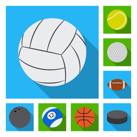 Vector design of sport and ball symbol. Set of sport and athletic vector icon for stock. Çizim