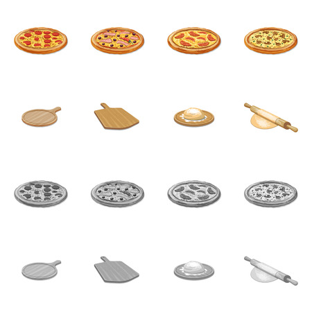 Vector illustration of pizza and food logo. Collection of pizza and italy stock symbol for web.