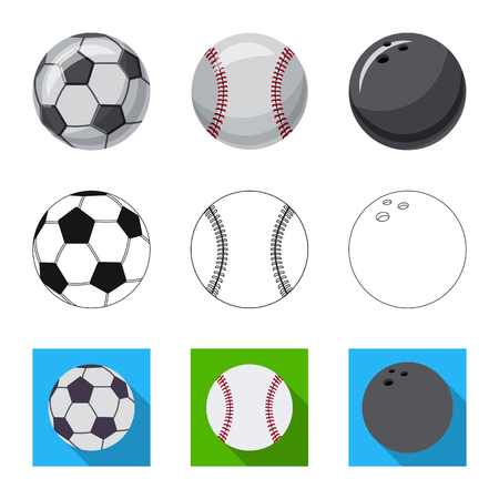 Vector illustration of sport and ball sign. Collection of sport and athletic vector icon for stock.